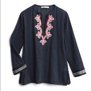 Trina Turk embroidered tunic - navy linen - NWT